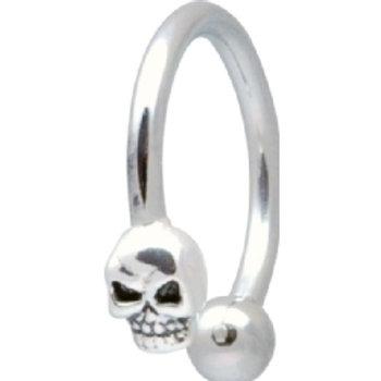 Ring, eks. til navle, øre mm.1,6 x 10 mm, sterling skull