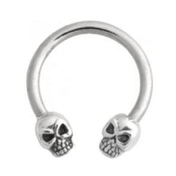 Circular Barbell med sterling sølv Skulls