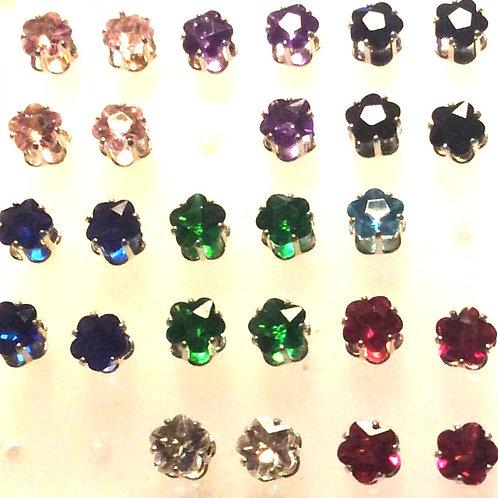 Krystal Blomst øresticks,925 ss. Par, Flere farver