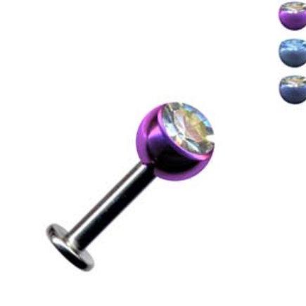 Anodiseret titanium 1,2 mm. labret med krystal