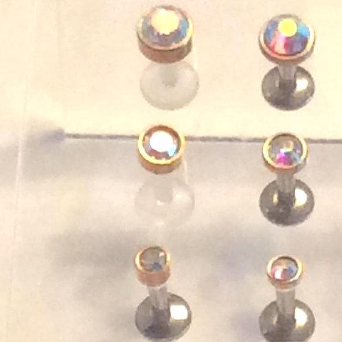 Rosengold Internal labret med multifarvet krystal 1,6