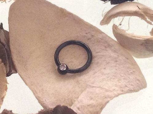 Black steel Clicker ring med krystal, 1,6 x 10 mm
