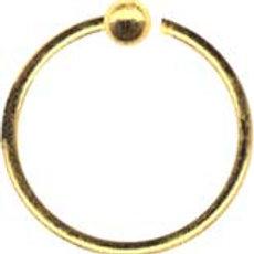 18 karat guld ring 0,8 mm. trådtykkelse, 8 mm. dia. kugle 2 mm.