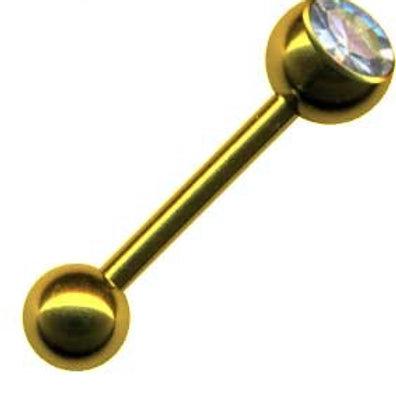 Guldbelagt barbell med krystal 1,6