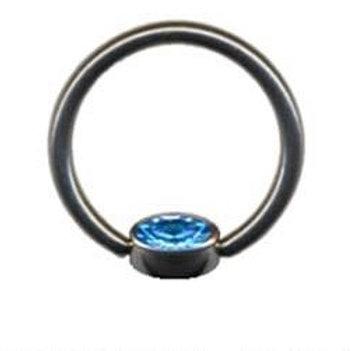 Smiley ring med Flad bagside og krystal titanium