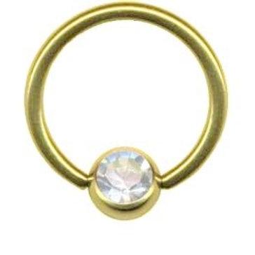 Guldbelag BCR ring med krystal 1 x 6 mm.