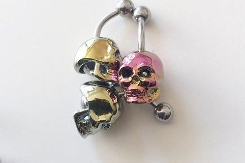 Anodiseret Titanium navlesmykke med Skull