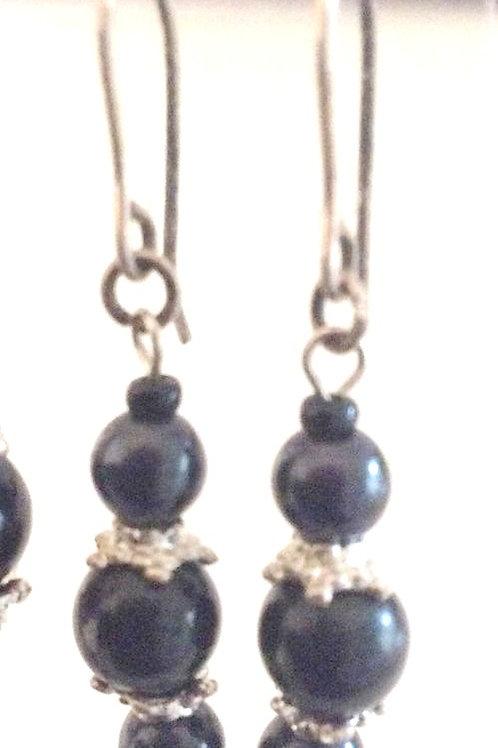 Ørehængere , glas folie perler