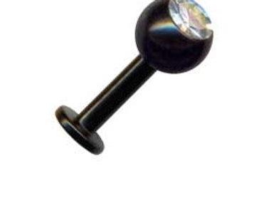 Black steel labret, Krystal. 1,6 mm. gevind
