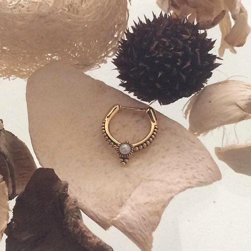 Septum Clicker , Guldbelagt 1,2mm  med perle