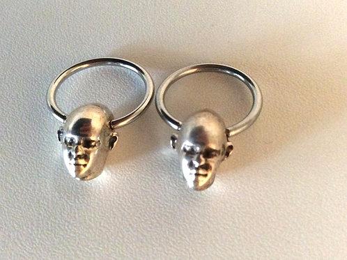 BCR ring med sterling sølv kugle, par