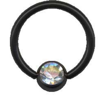 Black steel BCR ring med krystal, 1,2 x 8 mm