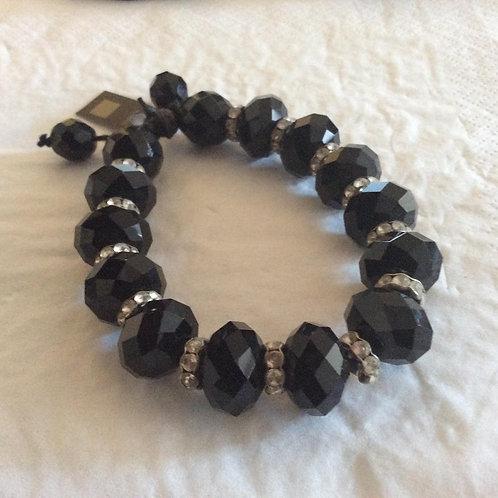 Knyttet armbånd med store Krystal perler