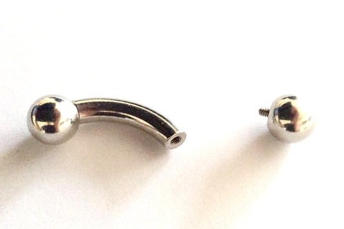 Kirugisk stål Curved barbell 3, 4 og 5 mm. Tykkelse. Internal threded