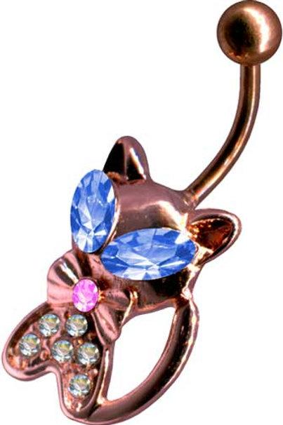 Sødt Katte navlesmykke, Rosengold