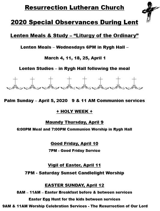 Special Services Durng Lent 2020.JPG