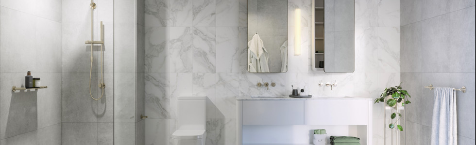 Crystal Frameless Shower Panel and Cabinet Mirrors