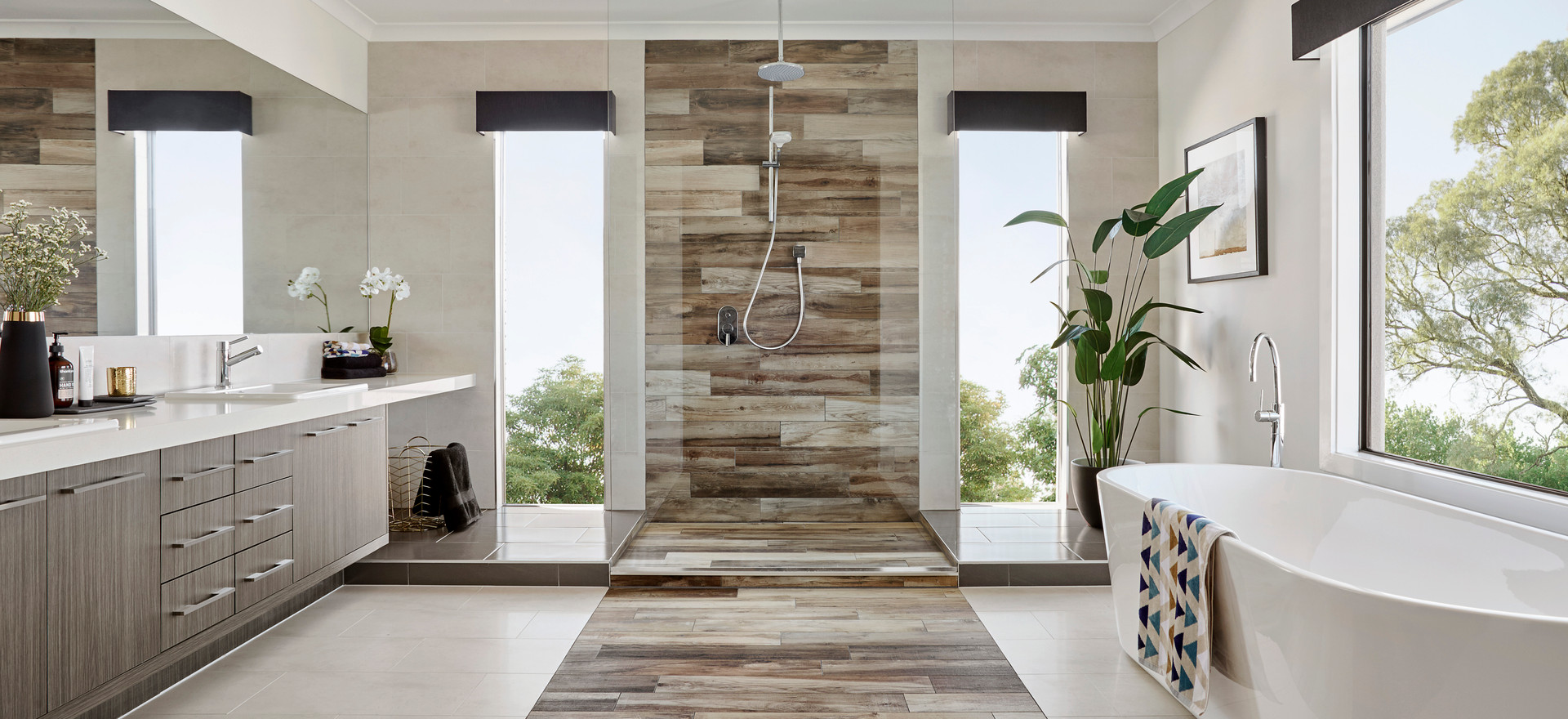 Crystal Mirror and Frameless Shower