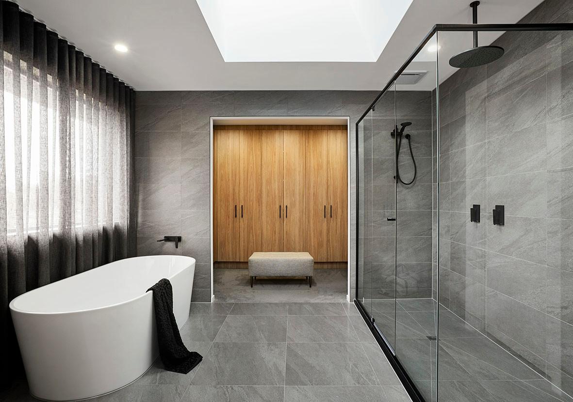 Crystal Hinged Doors And Black Semi Frameless Shower