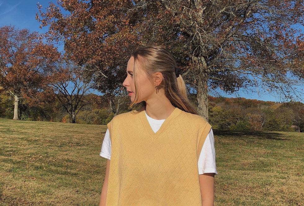 """Blondie"" Cropped Sweater Vest w/ Raw Hem"