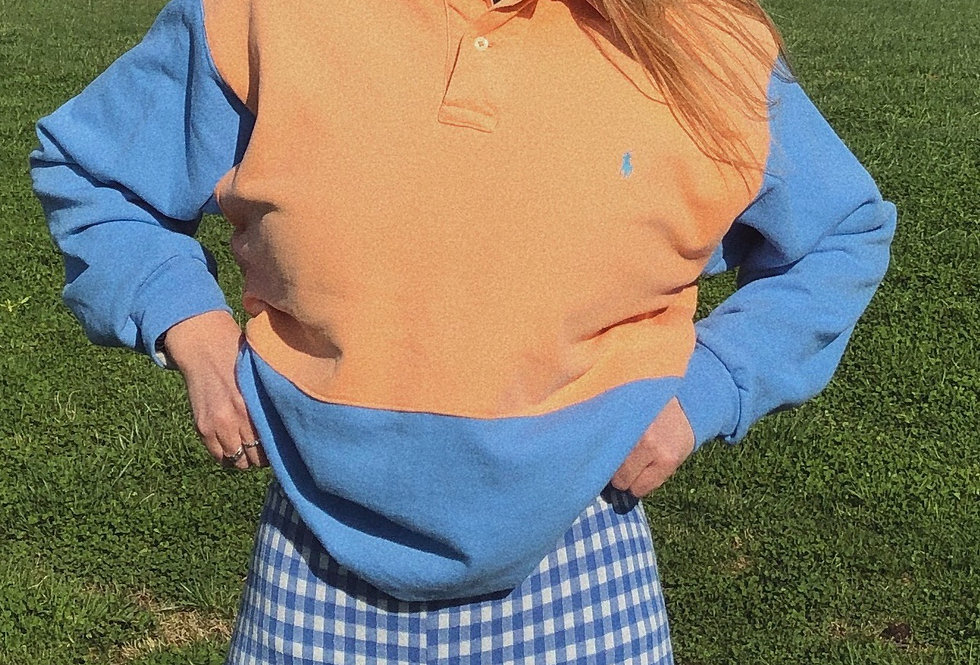 """Tennessee Sunset"" Color-Block Polo Sweatshirt"