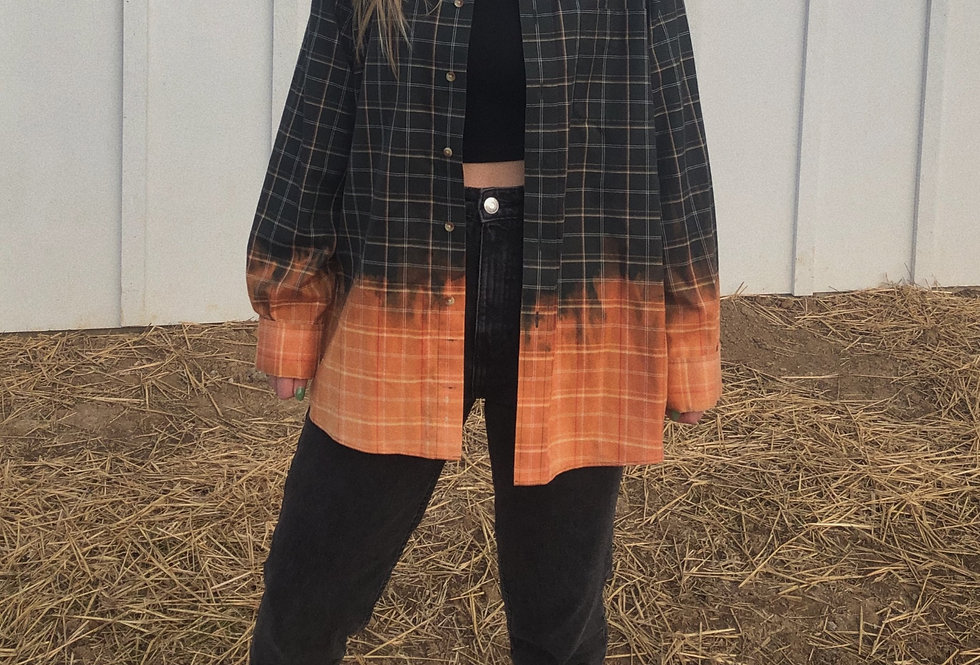 Forest Green Plaid Button Down Fade