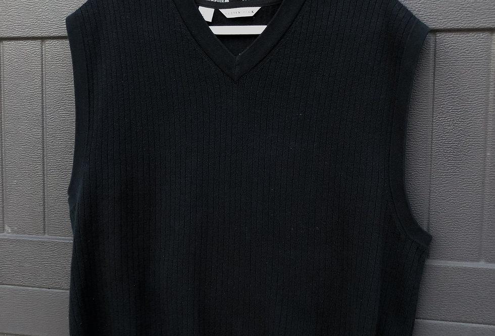 Black Ribbed Knit Sweater Vest