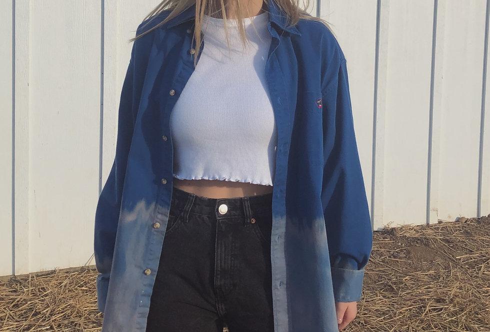 90s Royal Blue Button Down Fade