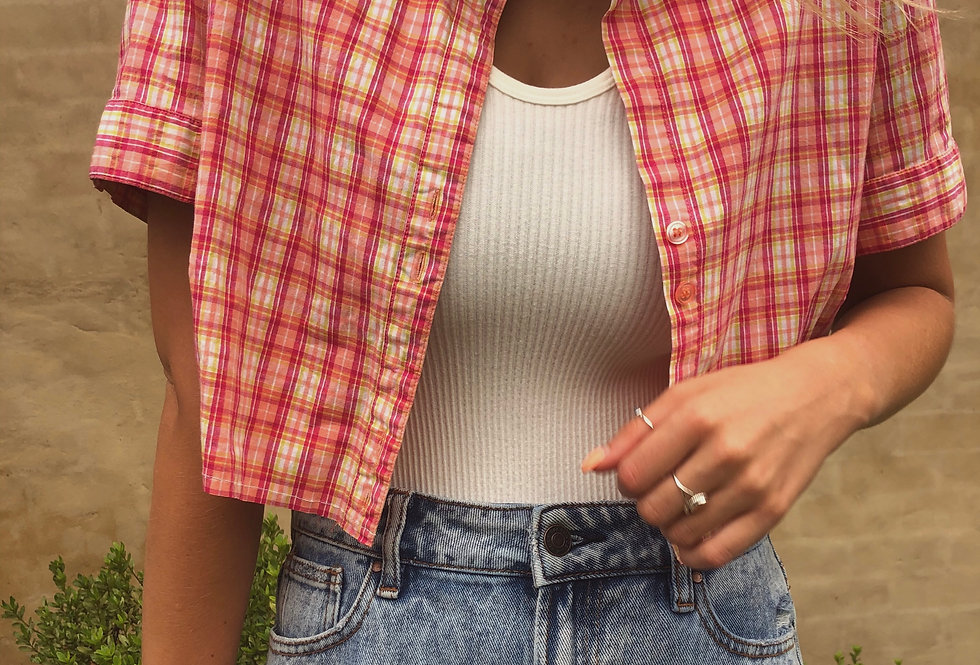"""""""Juicy Watermelon"""" Distressed Short Sleeve Button-Up Crop"""