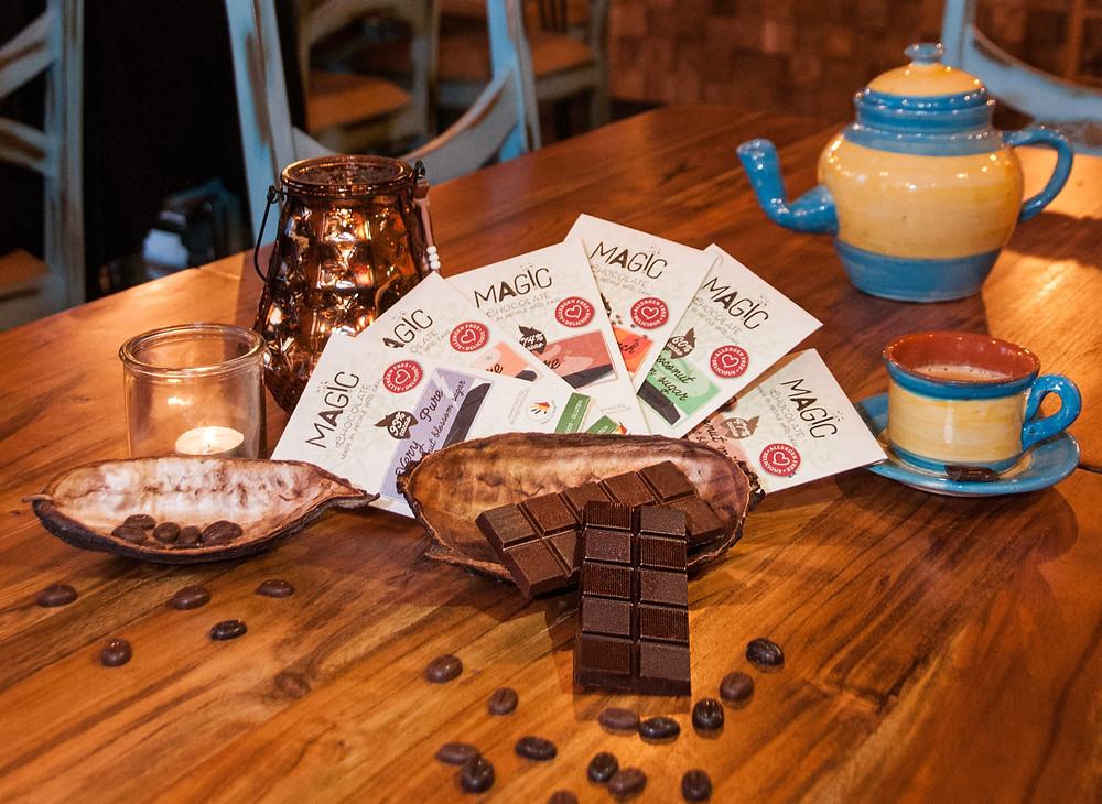 Verschillende soorten chocolade van Magic Chocolates uit Wetteren.