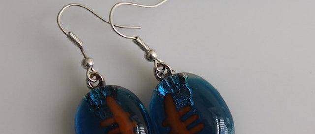 Oorbellen blauw oranje