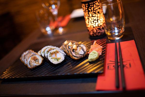 Sushi op een bordje bij Esaki Sushi in Hasselt