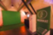 Opstelling van een green screen photobooth van Meerskat in Zaal Lumière in Oost-Vlaanderen