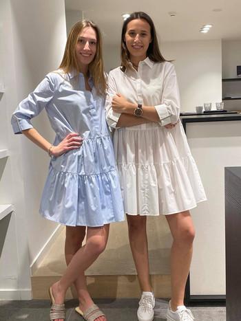 designermode lente en zomer 2021 wit en blauw jurkje