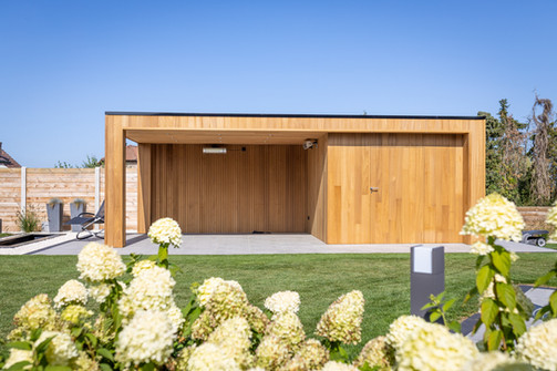 Tuinhuis kubus met plat dak
