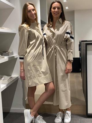 designermode lente en zomer 2021 korte en lange beige katoenen jurk voor hipsters