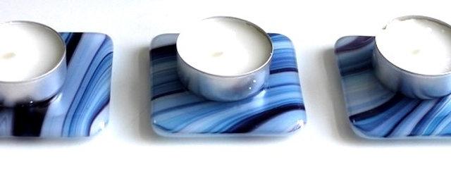 Onderzetters theelichtjes blauw paars