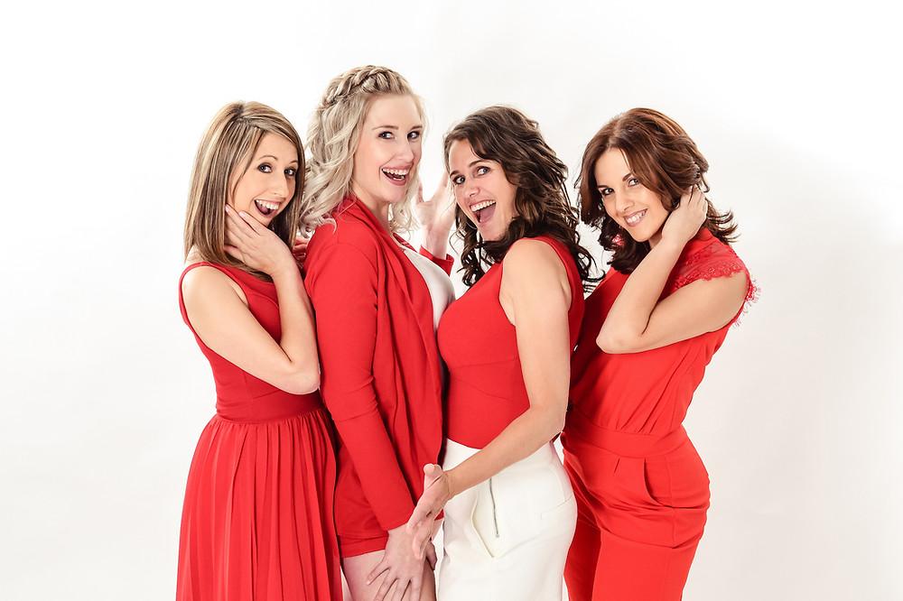 Kelly, Kim, Ine en Teresa van de Vlaamse meidengroep Top Pops.