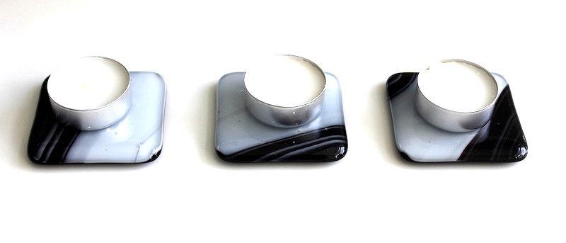Onderzetters theelichtjes zwart wit