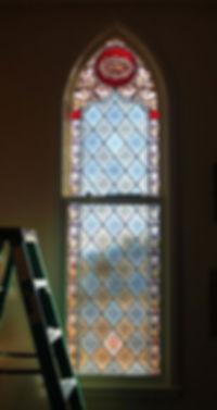 Restored Screenprinted window; Wilbur, NE