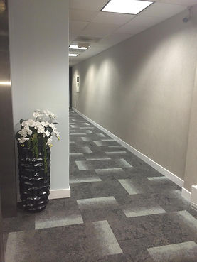 interface modern carpet tile in a commercial building corridor interior design san antonio, Texas