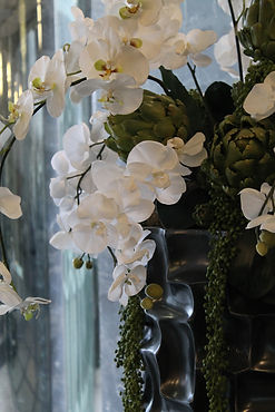 modern cava vase using white orchids in a renovated office lobby San Antonio, Texas.