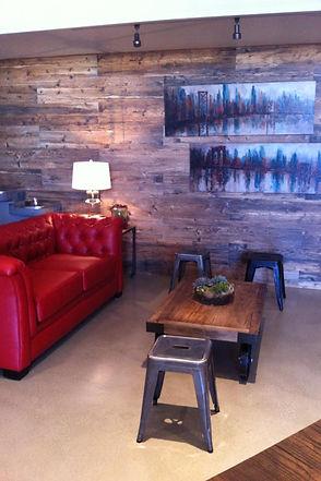 faux wood wall tile design in modern church lobby San Antonio, Texas