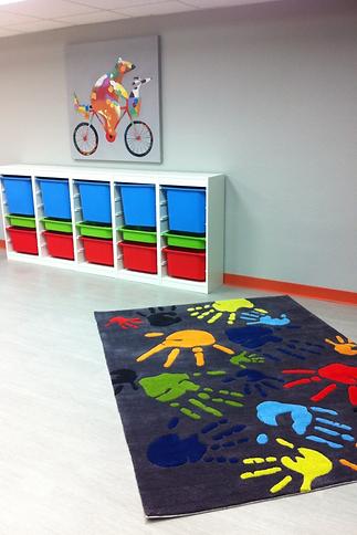 Northrock Church modern kids room interior design San Antonio, Texas. Momeni hand rug.