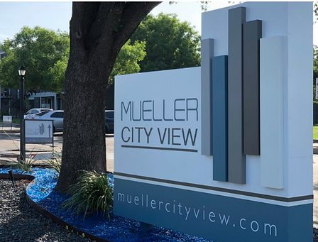 Mueller City view Austin graphic design