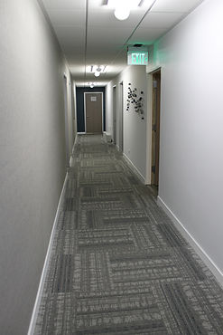 carpet tile used in a modern commercial building corridor.