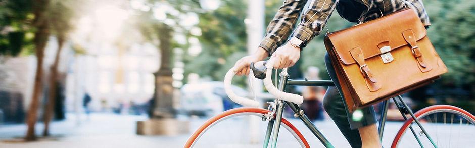 Urban Man Riding Bicycle