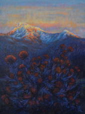 'Marigolds and a mountain view at sunrise', Oil on canvas board, 25 x 33cm, framed, $610