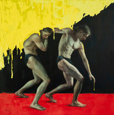 'Yellow, Red & Prussian Blue', Oil on canvas, 76x76cm, $4150