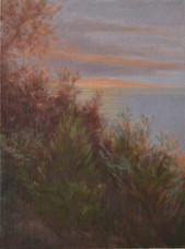 'A calm day', Oil on canvas board, 25 x 33cm, framed, $560